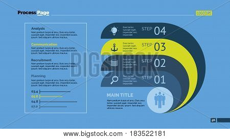 Four ribbons process chart slide template. Business data. Option, diagram, design. Creative concept for infographic, presentation. Can be used for topics like management, strategy, training.