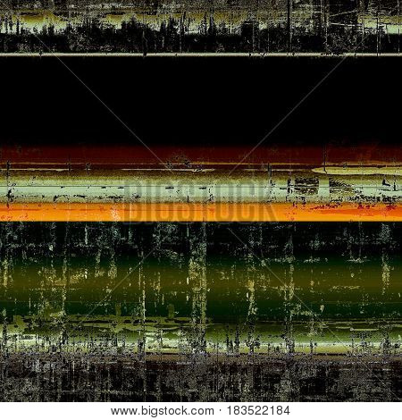 Old style decorative composition or designed vintage template with textured grunge elements and different color patterns: yellow (beige); brown; green; red (orange); black; white