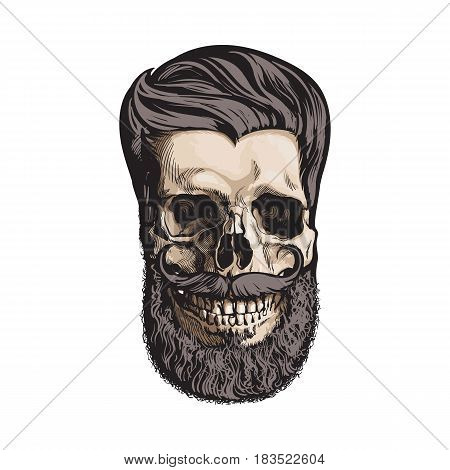 Hand drawn human skull with hipster hairdo, beard and moustache, sketch style vector illustration isolated on white background. Hand drawing of human skull with hipster hair, beard and whiskers
