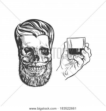 Party poster, banner design elements - skull with hipster beard and mustache, hand holding whiskey drink, isolated sketch vector illustration. Hand drawn hand holding alcohol shot and hipster skull