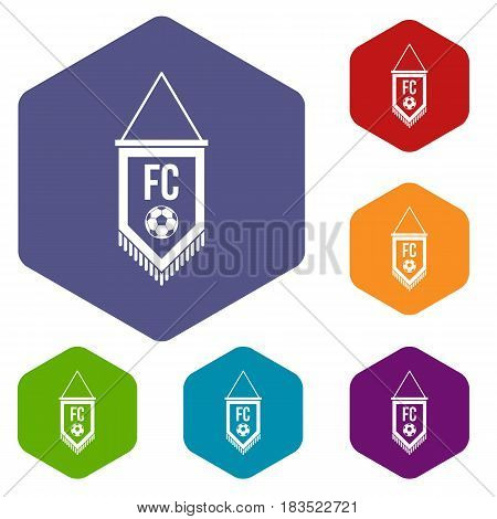 Pennant with soccer ball icons set hexagon isolated vector illustration