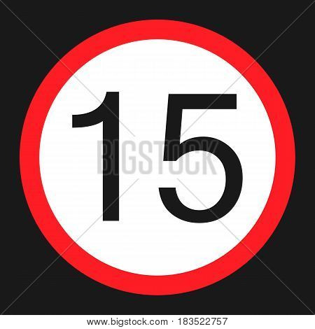 Maximum speed limit 15 flat icon Traffic and road sign vector graphics a solid pattern on a black background eps 10.