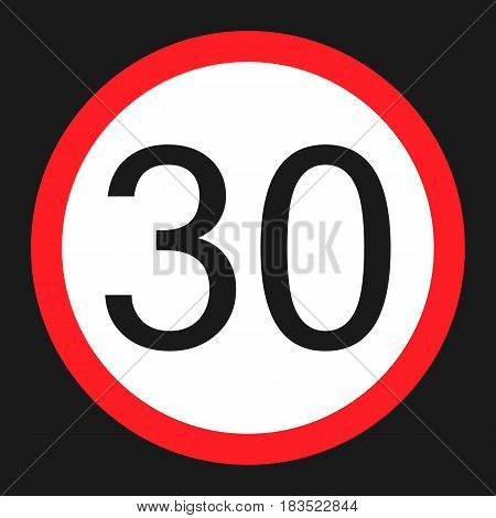 Maximum speed limit 30 flat icon Traffic and road sign vector graphics a solid pattern on a black background eps 10.
