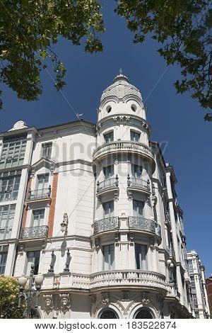 Valladolid (Castilla y Leon Spain): historic building with typical balconies and verandas