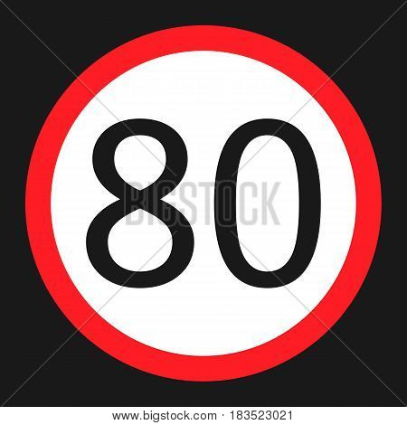 Maximum speed limit 80 flat icon Traffic and road sign vector graphics a solid pattern on a black background eps 10.