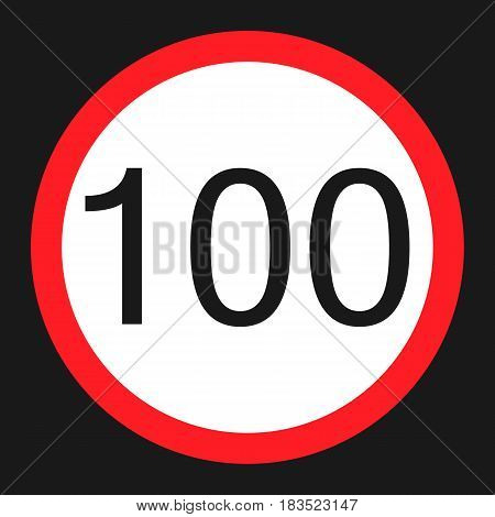 Maximum speed limit 100 flat icon Traffic and road sign vector graphics a solid pattern on a black background eps 10.