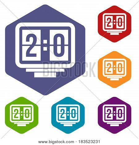Soccer scoreboard icons set hexagon isolated vector illustration