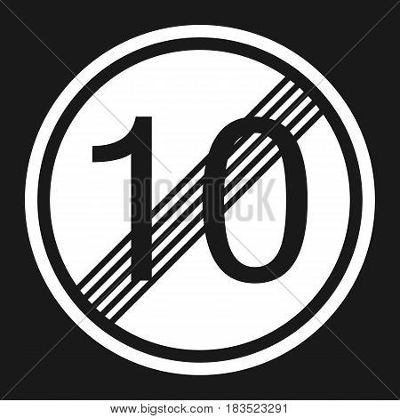 End maximum speed limit 10 sign flat icon Traffic and road sign vector graphics a solid pattern on a black background eps 10