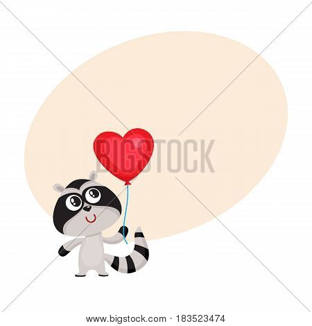 Cute and funny raccoon holding red heart shaped balloon, cartoon vector illustration with space for text. Raccoon holding heart balloon, birthday greeting decoration