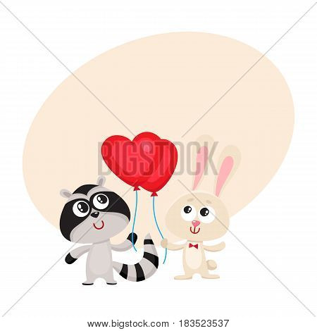 Cute, funny rabbit and raccoon holding red heart shaped balloon, cartoon vector illustration with space for text. Bunny and raccoon holding heart balloon, birthday greeting decoration elements