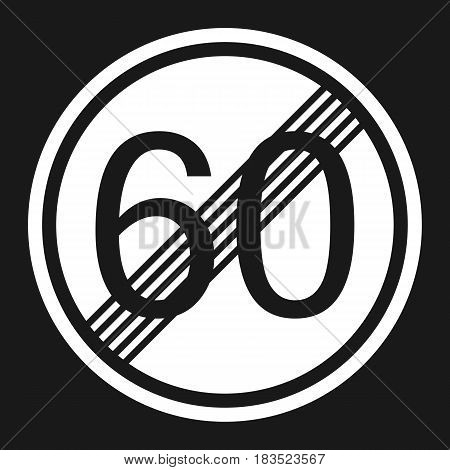 End maximum speed limit 60 sign flat icon Traffic and road sign vector graphics a solid pattern on a black background eps 10