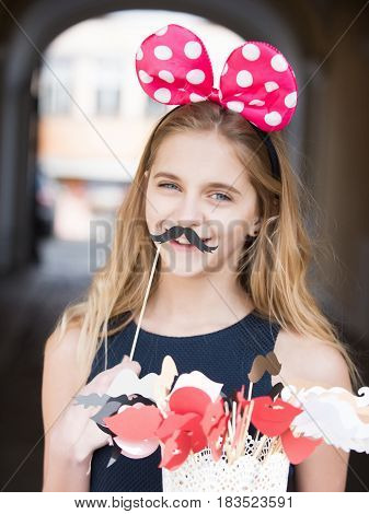 Happy Pretty Girl With Cute Mouse Ears And Black Moustache