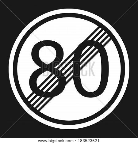 End maximum speed limit 80 sign flat icon Traffic and road sign vector graphics a solid pattern on a black background eps 10