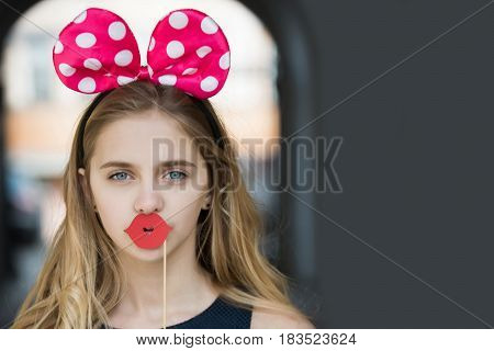Funny Pretty Girl With Cute Mouse Ears And Red Lips