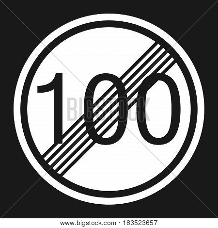 End maximum speed limit 100 sign flat icon Traffic and road sign vector graphics a solid pattern on a black background eps 10