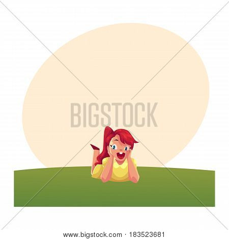Teenage girl with long red hair and big eyes lying on green grass under summer sky, colorful cartoon vector with space for text. Girl, kid, child lying on the grass, summer vacation concept