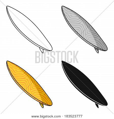 Surfboard icon in cartoon design isolated on white background. Surfing symbol stock vector illustration.