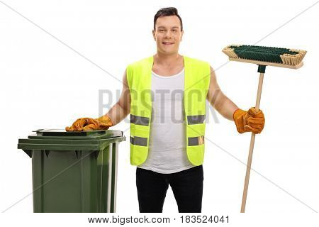 Waste collector with a garbage bin and a broom isolated on white background poster