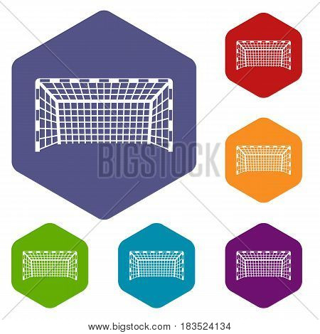 Goal post icons set hexagon isolated vector illustration