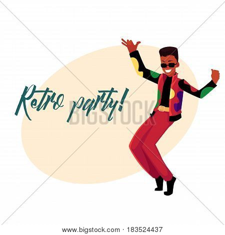 Retro disco party invitation, poster template, layout with black, African dancing man in 1980s style clothes, cartoon vector illustration. 80s style disco party invitation banner, poster template