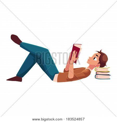Young man, boy reading book lying on the floor, side view cartoon vector illustration isolated on white background. Full length portrait of man, guy lying with a book, reading