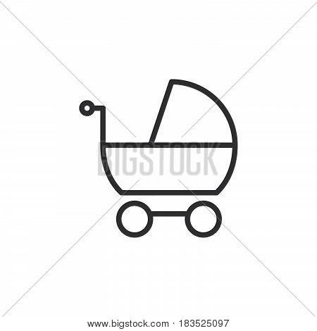 Stroller pram line icon outline vector sign linear style pictogram isolated on white. Symbol logo illustration. Editable stroke. Pixel perfect