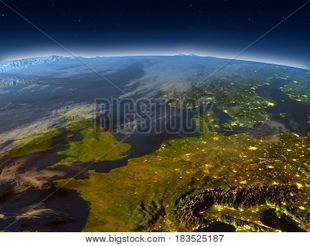 Western Europe From Space In The Evening