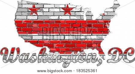 Washington, D.C. on a brick wall - Illustration