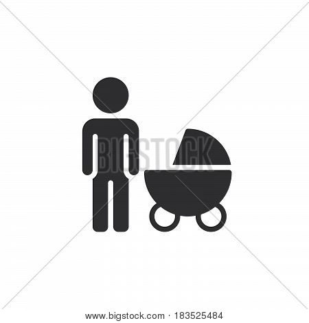 Father with baby pram icon vector filled flat sign solid pictogram isolated on white. Symbol logo illustration. Pixel perfect