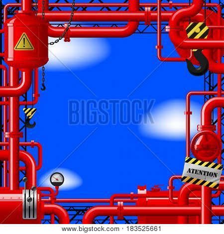 Red gas pipes on blue sky. Industrial frame and background