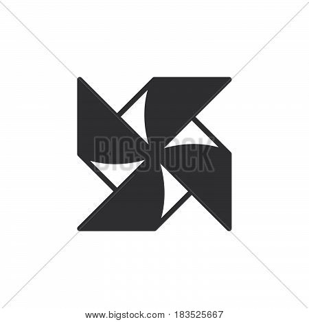 Paper Windmill Pinwheel icon vector filled flat sign solid pictogram isolated on white. Symbol logo illustration. Pixel perfect