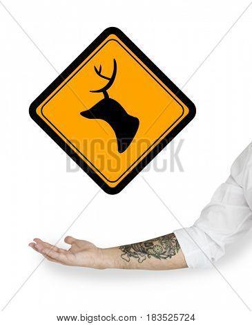 Deer Head Warning Icon Sign