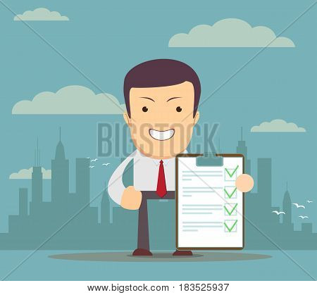 Young Man Holding a Document in Which All Approved, Validated, Agreed. The Document Put the Green Check Mark, Flags. Vector Illustration