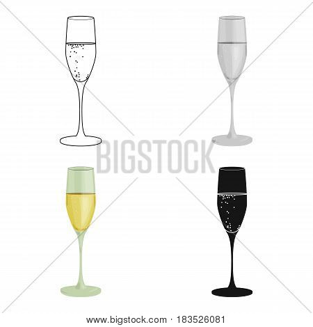 Glass of champagne icon in cartoon design isolated on white background. Wine production symbol stock vector illustration.
