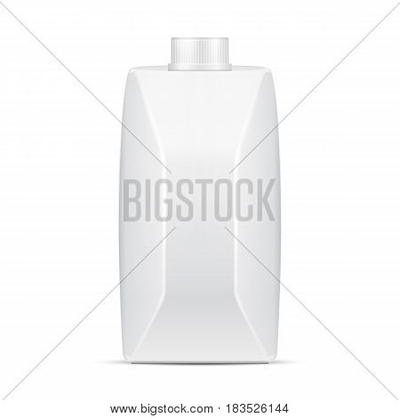 Milk, Juice, Beverages, Carton Package Blank White On White Background Isolated. Mock Up Template Ready For Your Design. Vector EPS10