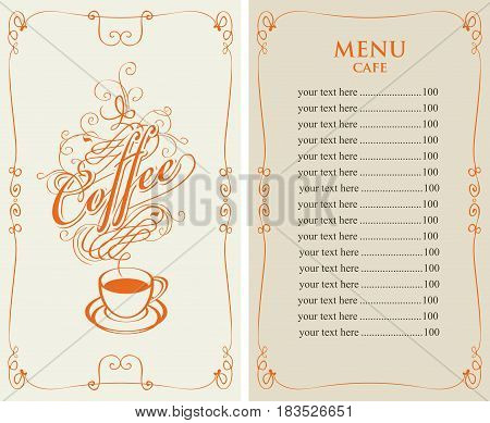 template vector menu for cafe with price list and coffee cup with calligraphic inscription in form of steam in baroque style