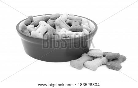 Dry Dog Food In A Bowl, Biscuits Spilled Beside