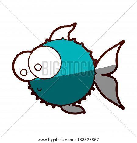 aquamarine silhouette of blowfish with big eyes vector illustration