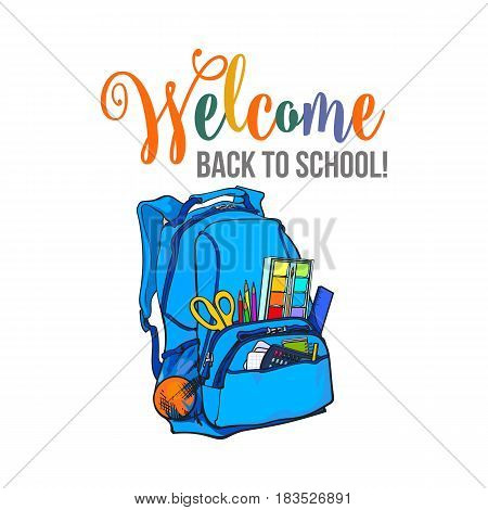 Welcome back to school poster, banner, postcard design with backpack, vector illustration isolated on white background. Welcome back to school poster, banner, card design with school bag