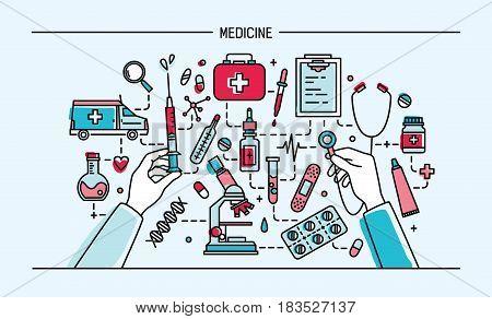 medicine lineart banner. colorful vector illustration. web