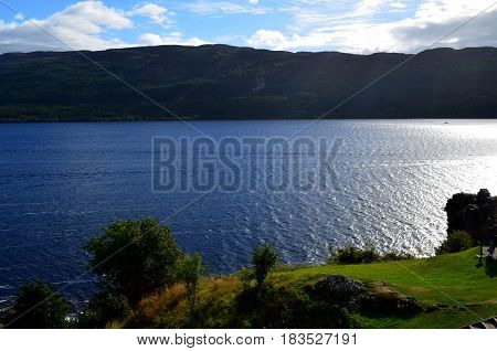 A view of Loch Ness in the Scottish Highlands.