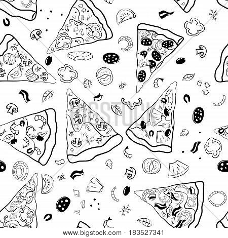 Pizza slices vector seamless pattern. Black outline on a white background.