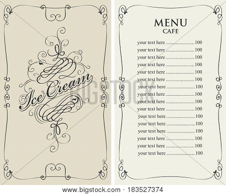 template vector menu for cafe with price list and curlicues with calligraphic inscription ice cream in baroque style