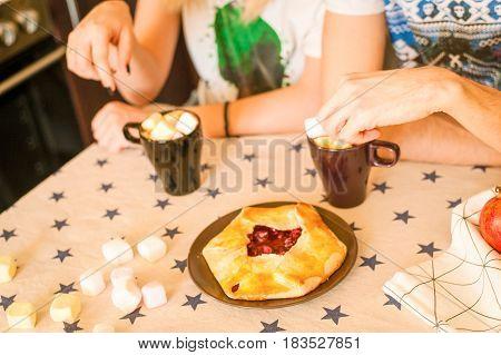 ingredients for dessert on kitchen wooden table, cooking, recipe, tasty recipe, kitchen