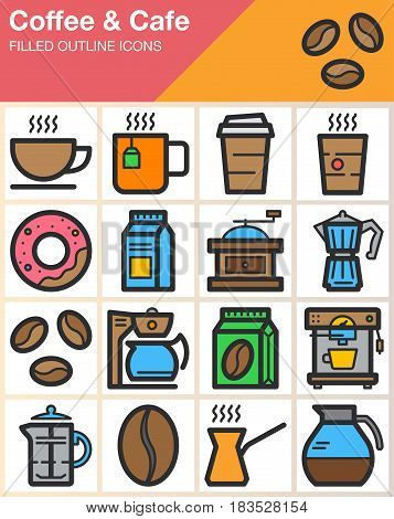 Coffee and Cafe line icons set filled outline vector symbol collection linear colorful pictogram pack isolated on white. Signs logo illustration web graphics