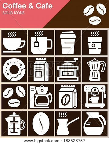Coffee and Cafe vector icons set modern solid symbol collection filled white pictogram pack. Signs logo illustration web graphics