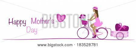 Happy Mother's day. Girl driving on bicycle with flowers and big heart. Text : Happy Mother's day. Pink shade.