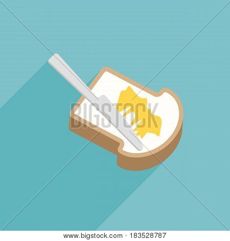 Slice of toast bread with knife spreading butter or margarine, flat design vector with long shadow