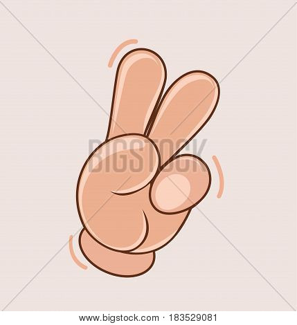 Hand cartoon show two finger. Cartoon sign for victory. Sign for peace. Vector stock.