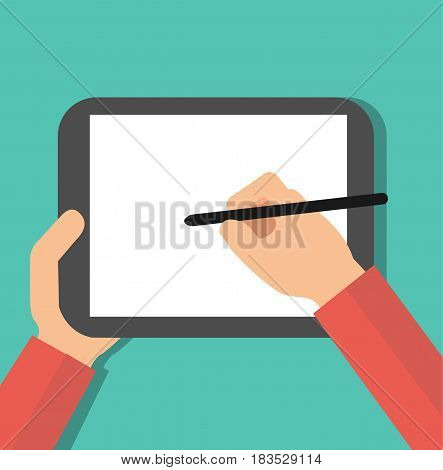 Hand holding digital pen drawing on graphic tablet. Flat design graphics elements. Vector stock.